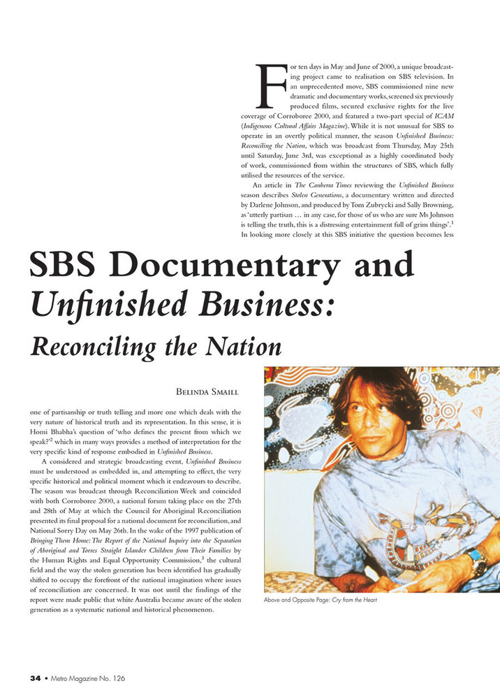 SBS Documentary and 'Unfinished Business: Reconciling the Nation'