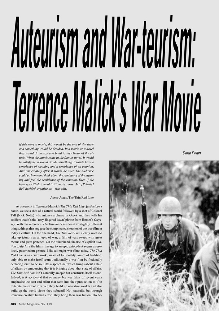 Auteurism and War-teurism: Terrence Malick's War Movie