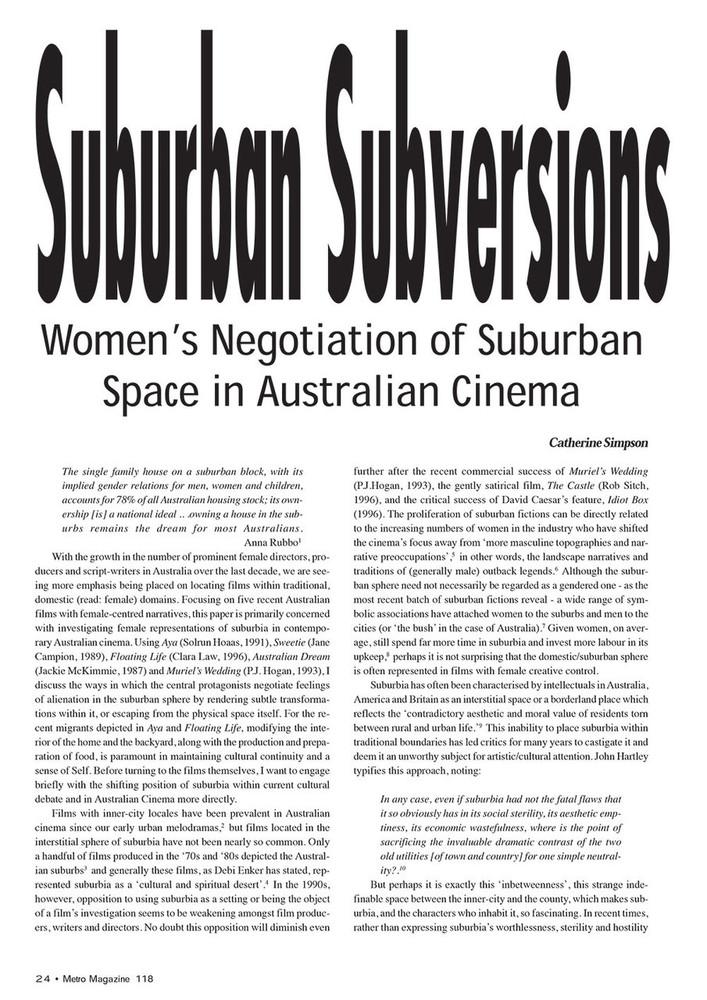 Suburban Subversions: Women's Negotiation of Suburban Space in Australian Cinema