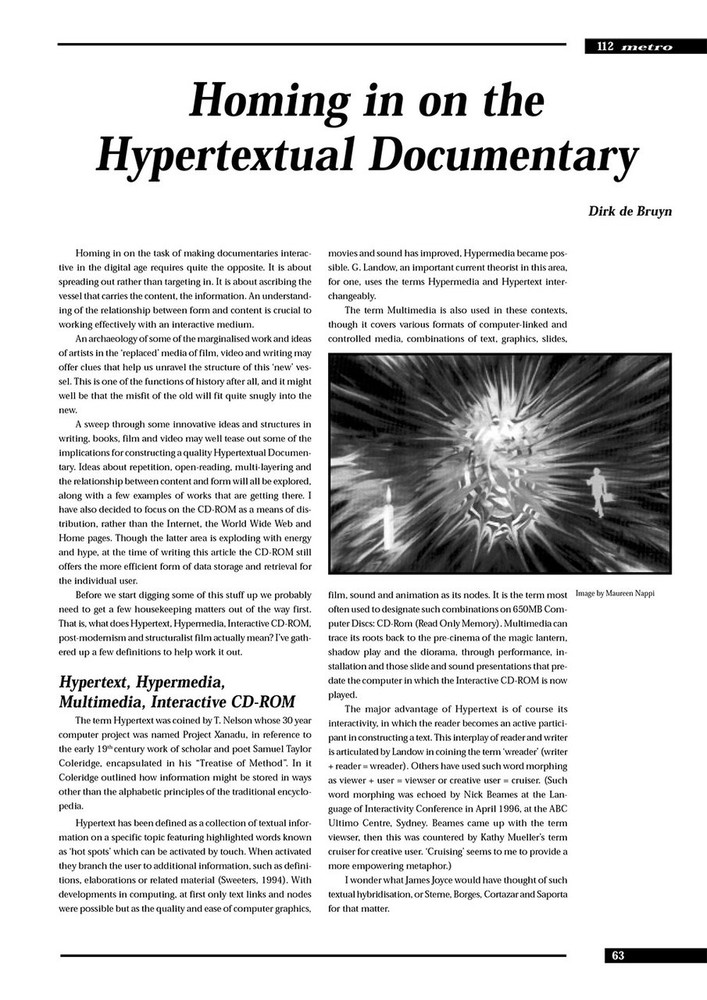 Homing in on the Hypertextual Documentary