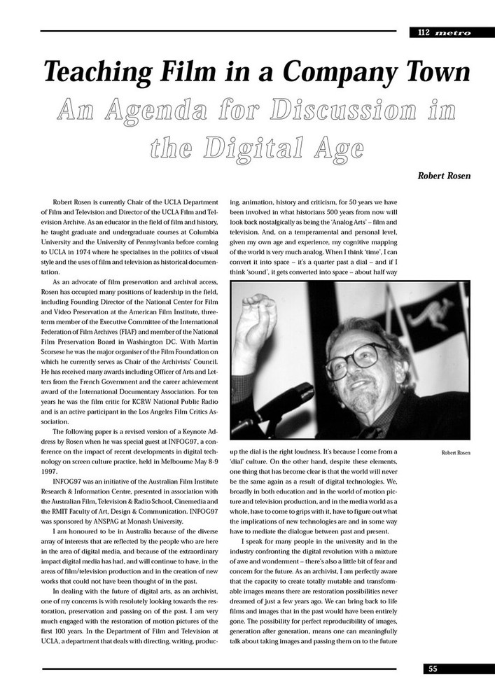 Teaching Film in a Company Town: An Agenda for Discussion in the Digital Age