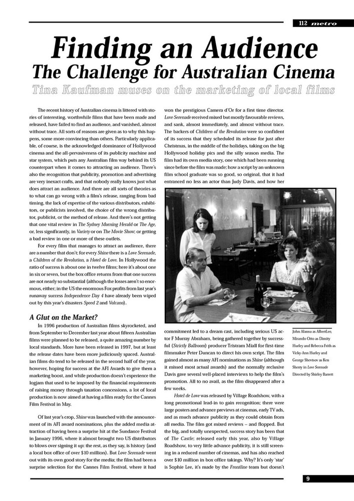 Finding an Audience: The Challenge for Australian Cinema (M112 version)
