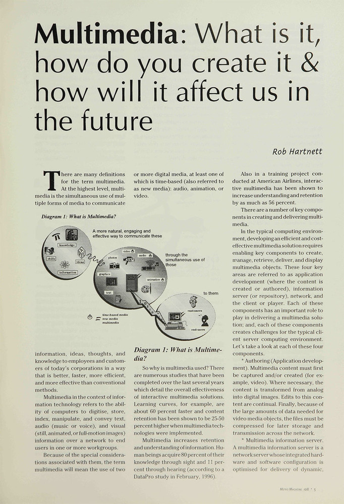 Multimedia: What Is It, How Do You Create It and How Will It Affect Us in the Future