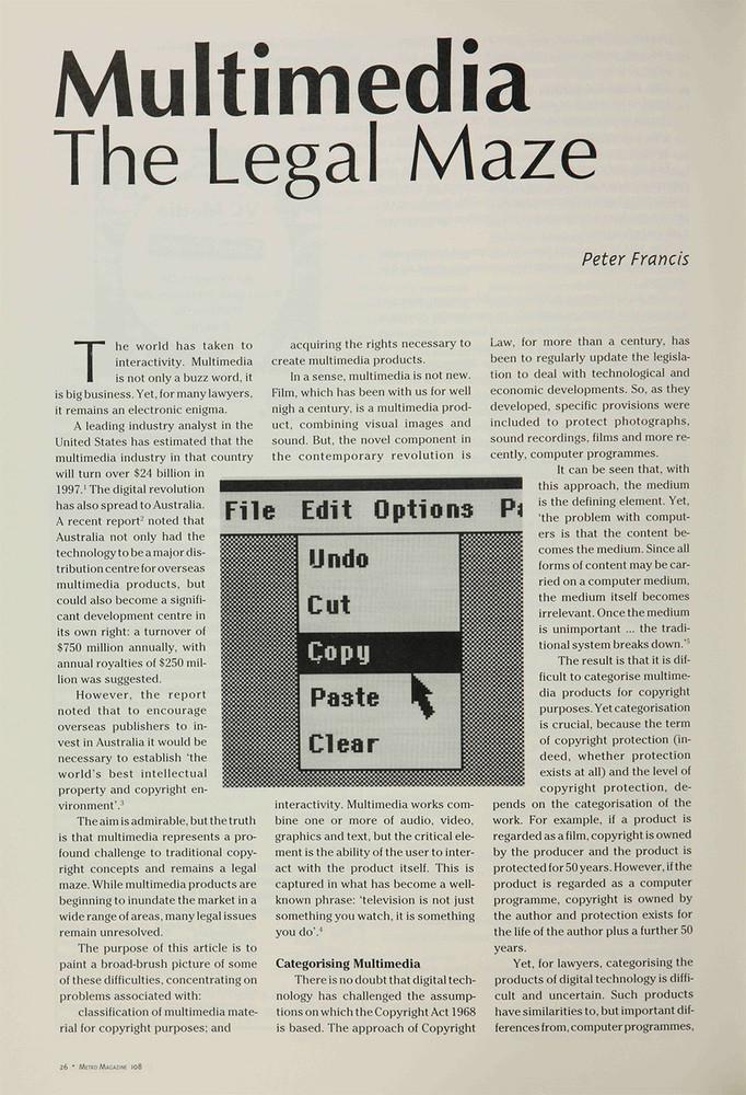 Multimedia: The Legal Maze