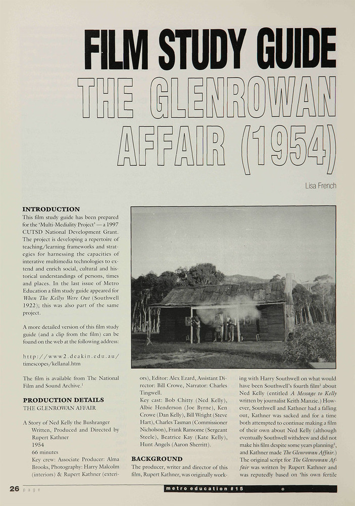 'The Glenrowan Affair' (A Study Guide)