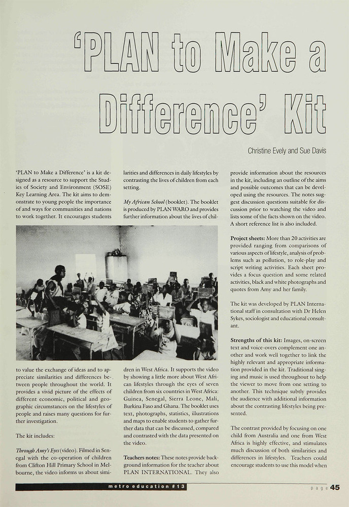 PLAN to Make a Difference' Kit