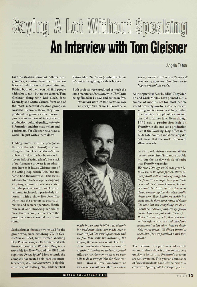 Saying a Lot Without Speaking: An Interview with Tom Gleisner