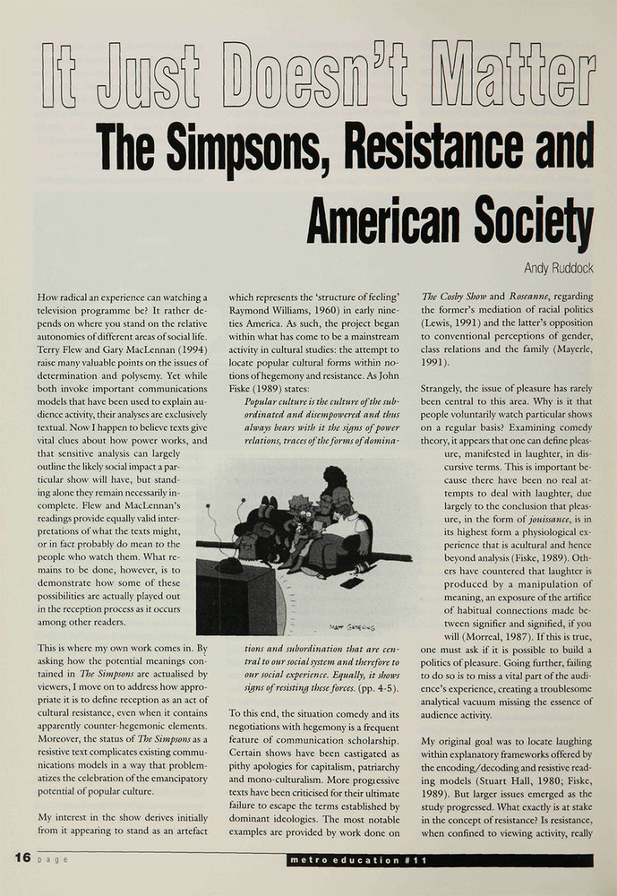 It Just Doesn't Matter: 'The Simpsons', Resistance and American Society