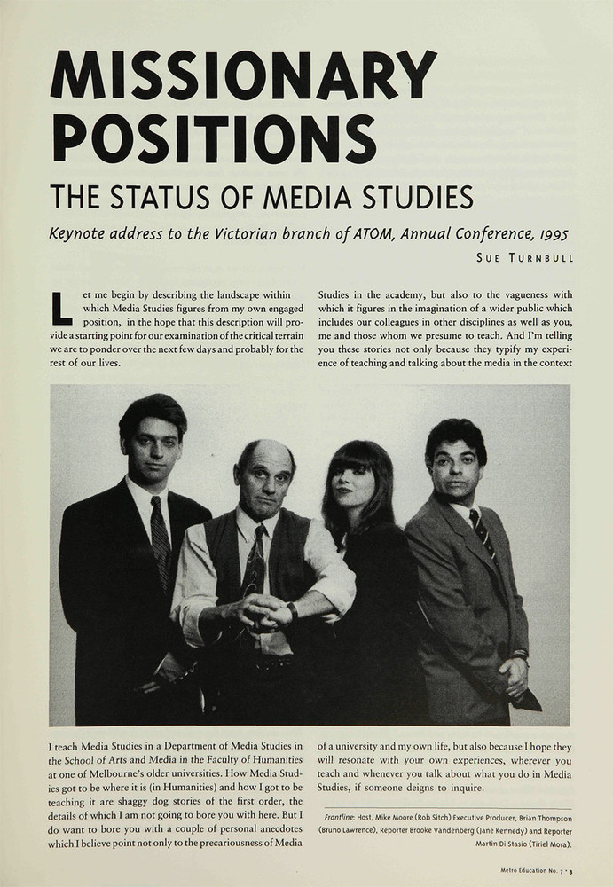 Missionary Positions: The Status of Media Studies