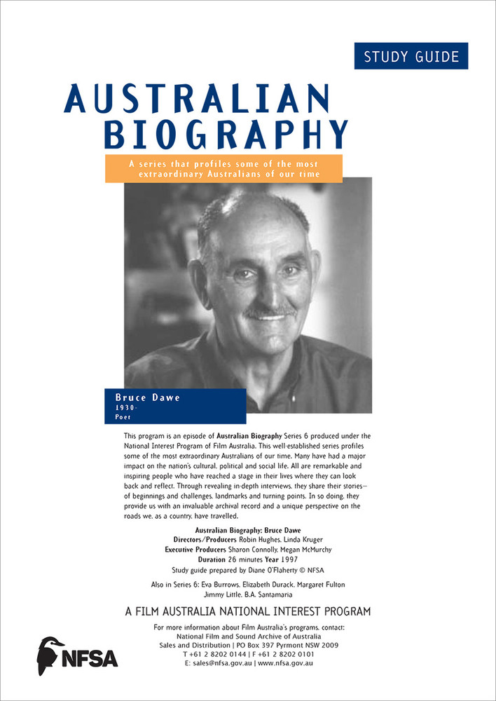 Australian Biography Series - Bruce Dawe (Study Guide)