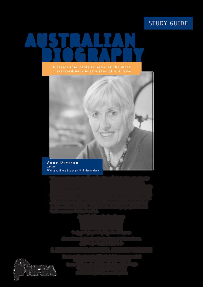 Australian Biography Series - Ann Deveson (Study Guide)