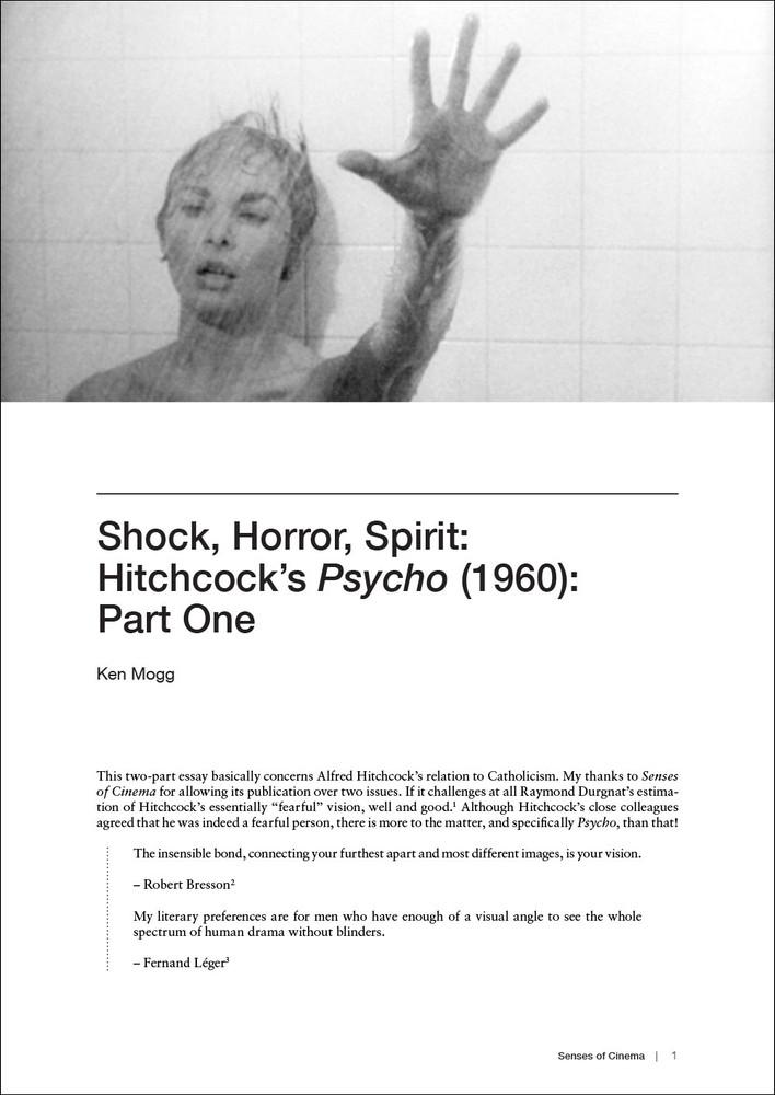 'Shock, Horror, Spirit': Hitchcock's Psycho (1960): Part One