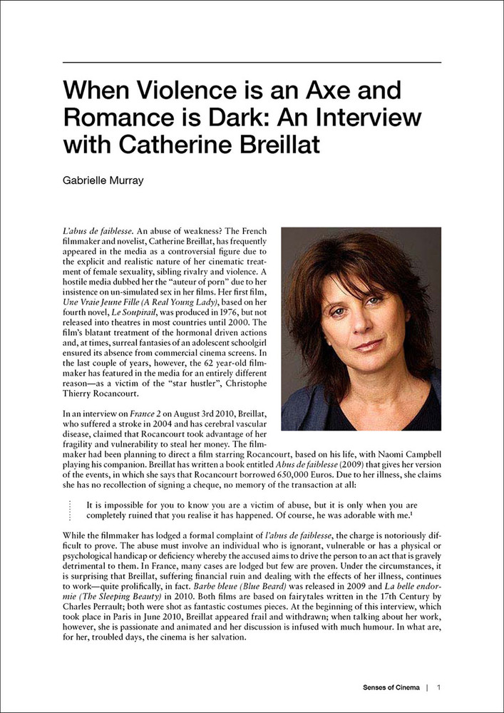 When Violence is an Axe and Romance is Dark: An Interview with Catherine Breillat