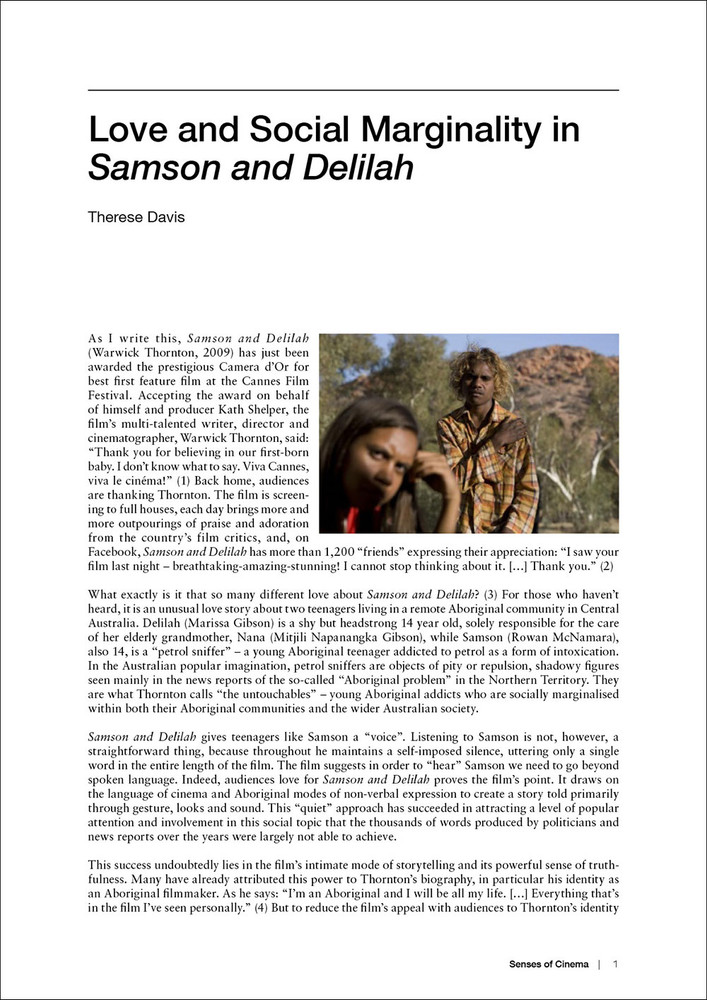 Love and Social Marginality in 'Samson and Delilah'