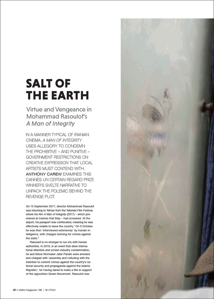 Salt of the Earth: Virtue and Vengeance n Mohammad Rasoulof's 'A Man of Integrity'