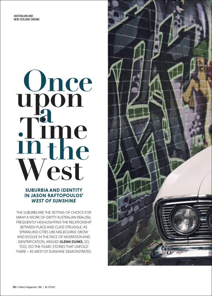 Once upon a Time in the West: Suburbia and Identity in Jason Raftopoulos' 'West of Sunshine'