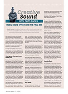 Creative Sound: Music, Sound Effects and the Final Mix