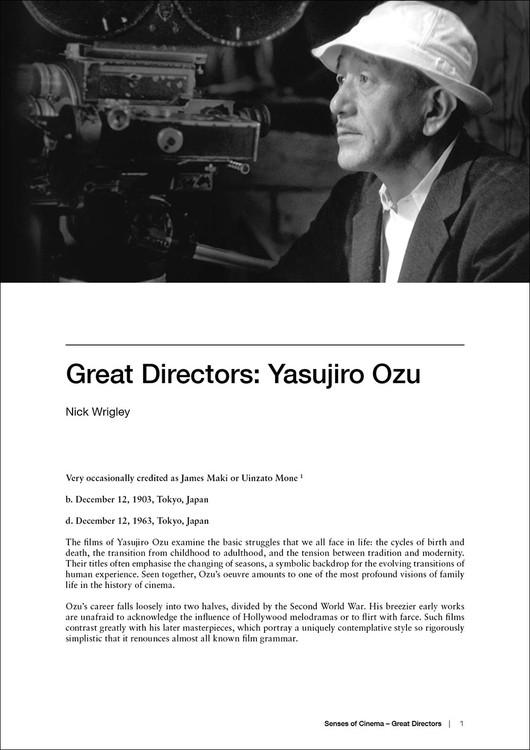 Great Directors: Yasujiro Ozu