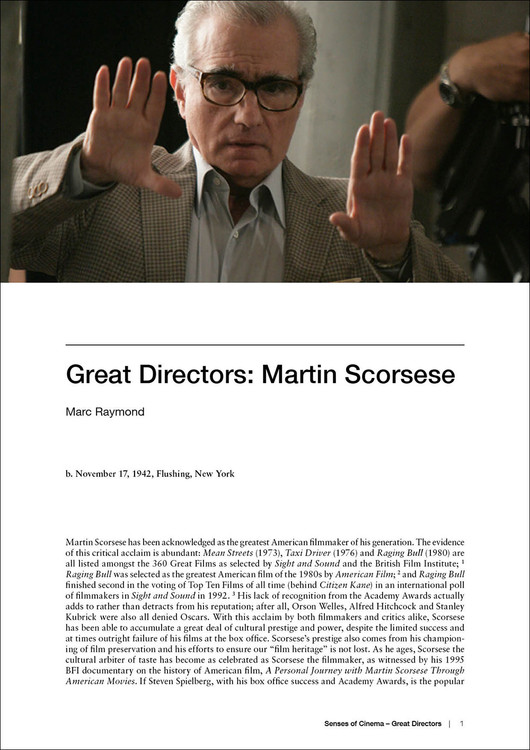 Great Directors: Martin Scorsese