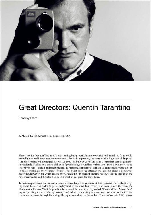 Great Directors: Quentin Tarantino