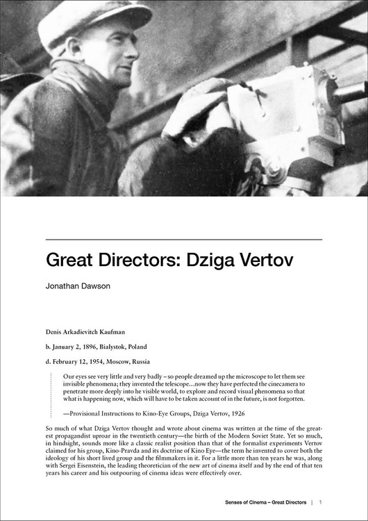 Great Directors:  Dziga Vertov
