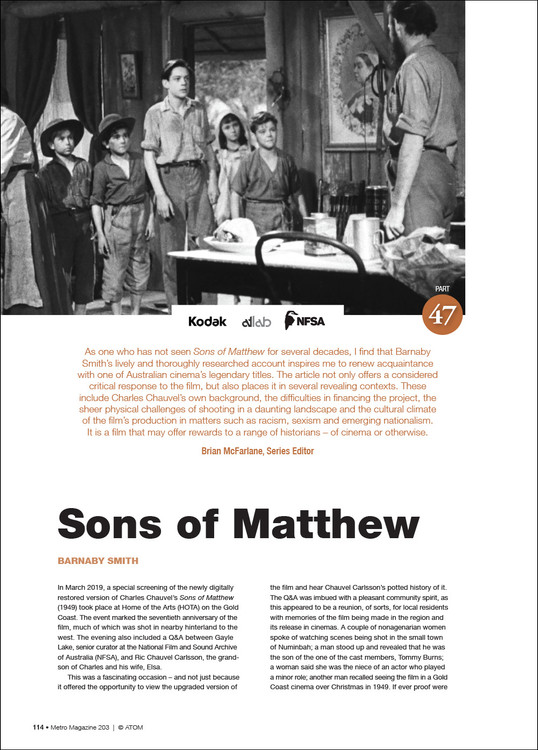 NFSA Restores Collection: 'Sons of Matthew'