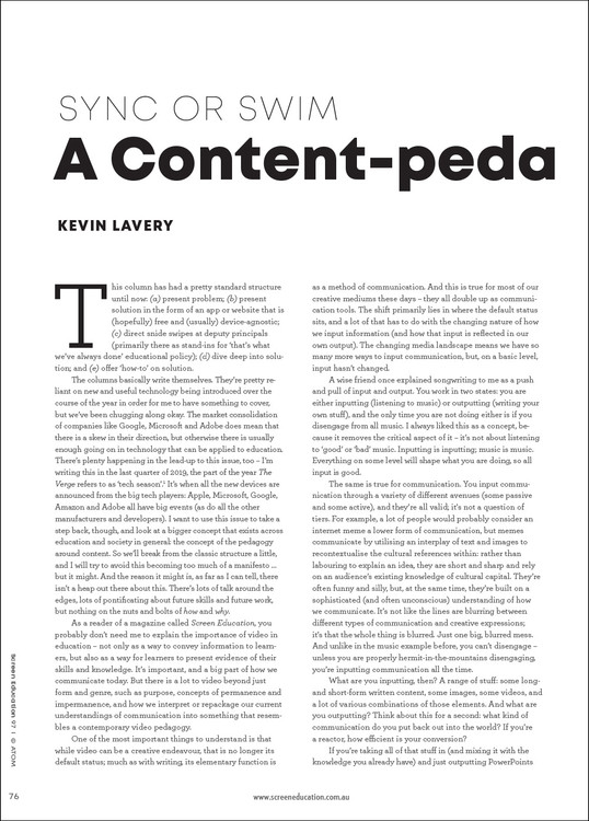 Sync or Swim: A Content-pedagogy Manifesto