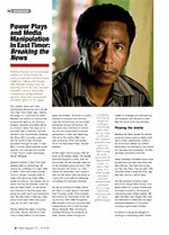 Power Plays and Media Manipulation in East Timor: <I>Breaking the News</i>