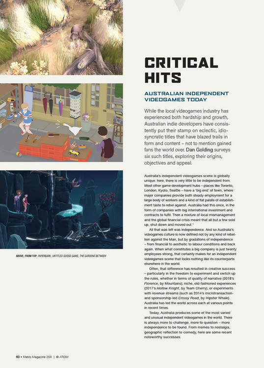 Critical Hits: Australian Independent Videogames Today