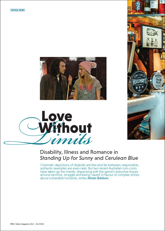 Love Without Limits: Disability, Illness and Romance in 'Standing Up for Sunny' and 'Cerulean Blue'