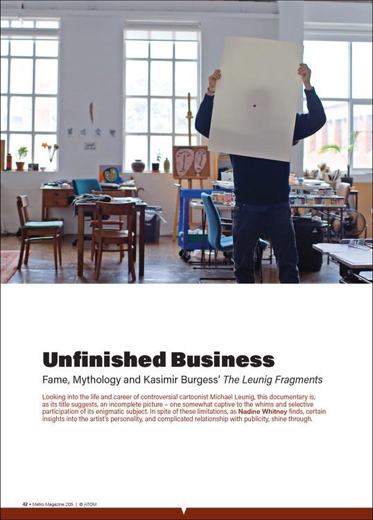 Unfinished Business: Fame, Mythology and Kasimir Burgess' 'The Leunig Fragments'