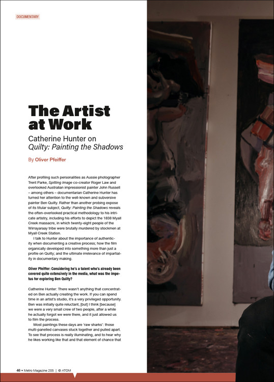 The Artist at Work: Catherine Hunter on 'Quilty: Painting the Shadows'
