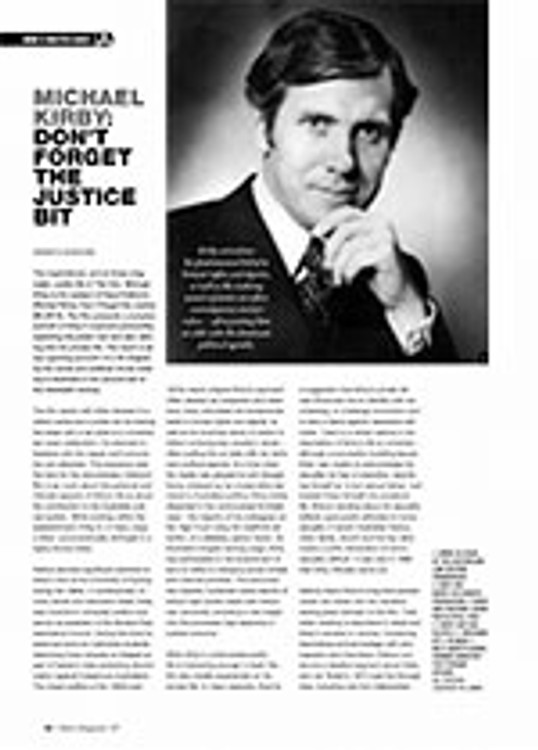Document: <i>Michael Kirby: Don? Forget the Justice Bit</i>