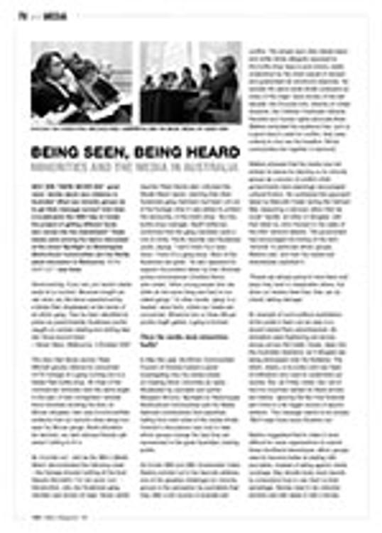 Being Seen, Being Heard: Minorities and the Media in Australia