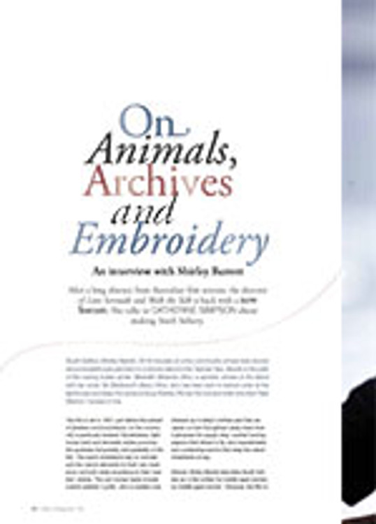 On Animals, Archives and Embroidery: An Interview with Shirley Barrett