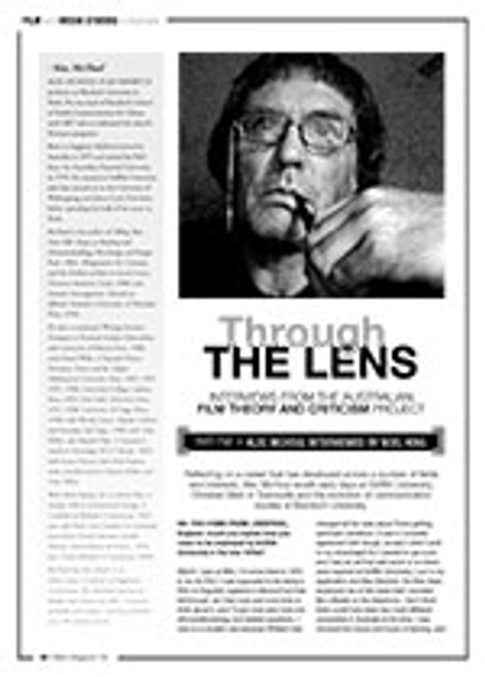 Through the Lens: Interviews from the Australian Film Theory and Criticism Project ?Alec McHoul