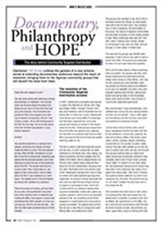Documentary, Philanthropy and <i>HOPE</i>: The Story Behind Community Targeted Distribution