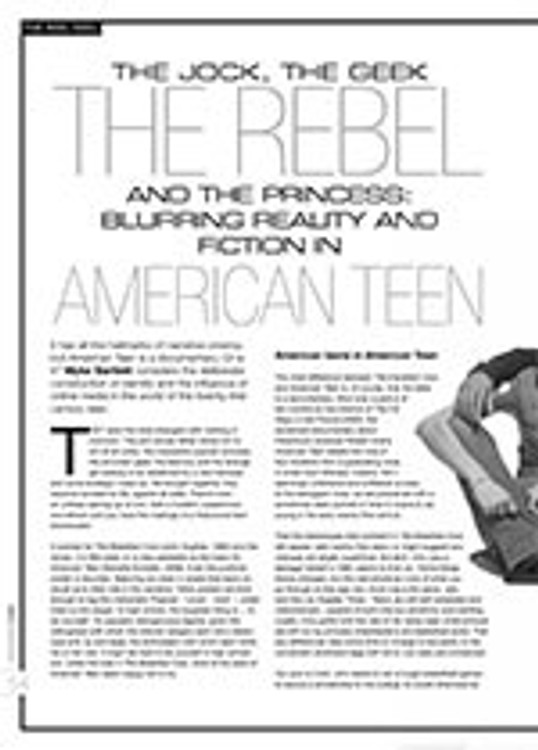 The Jock, The Geek, The Rebel and the Princess: Blurring Reality and Fiction in <i>American Teen</i>