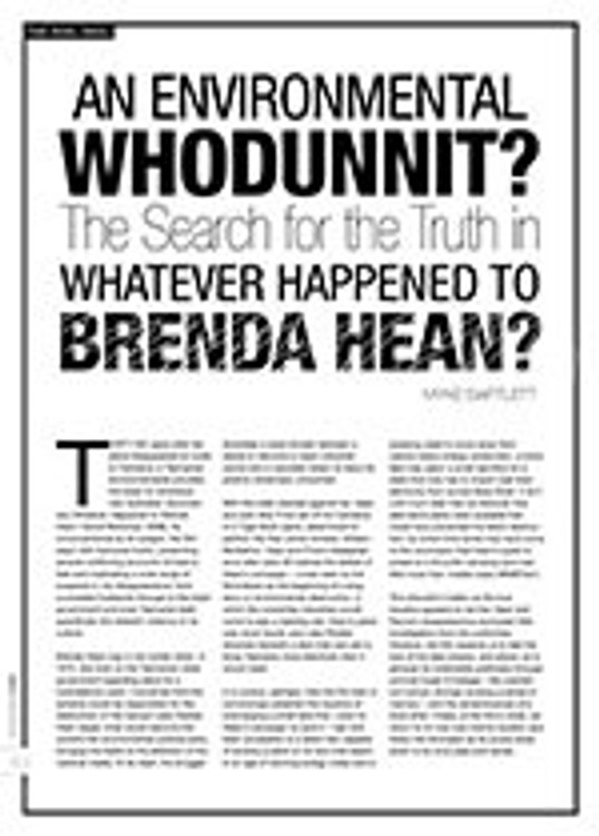 An Environmental Whodunnit?: The Search for the Truth in <i>Whatever Happened to Brenda Hean?</i>
