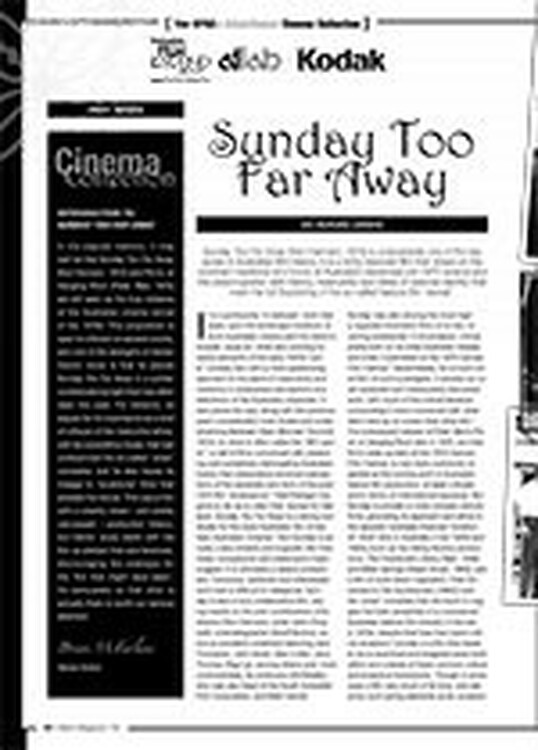 The NFSA? Kodak/Atlab Cinema Collection: <i>Sunday Too Far Away</i>