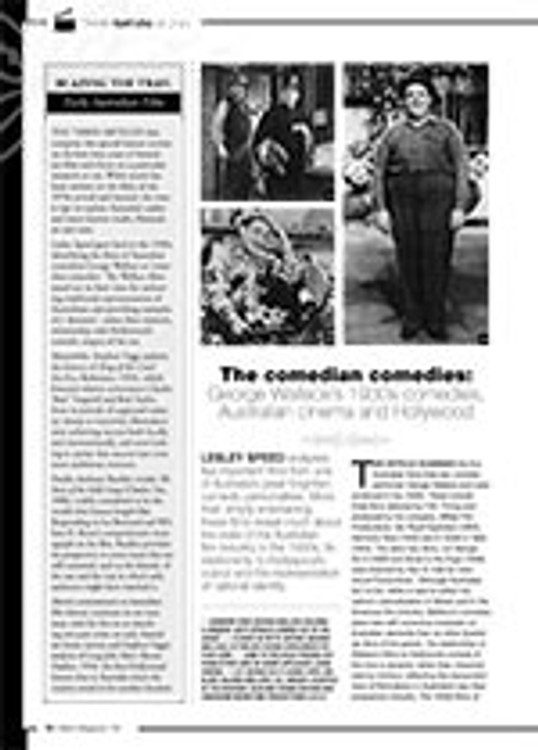 The Comedian Comedies: George Wallace? 1930s Comedies, Australian Cinema and Hollywood