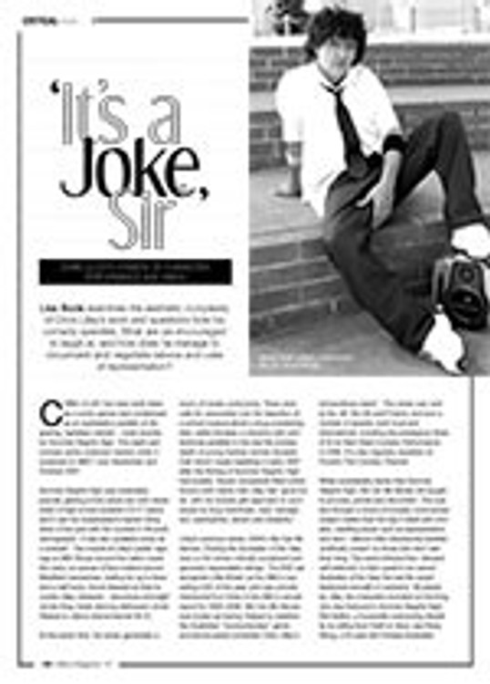 ?t? a Joke, Sir? Chris Lilley? Comedy of Character, Performance and Taboo