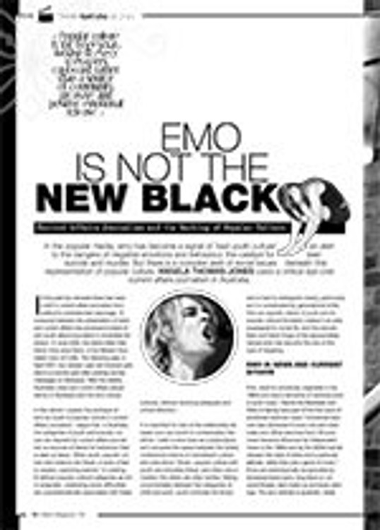 Emo is Not the New Black: Current Affairs Journalism and the Marking of Popular Culture