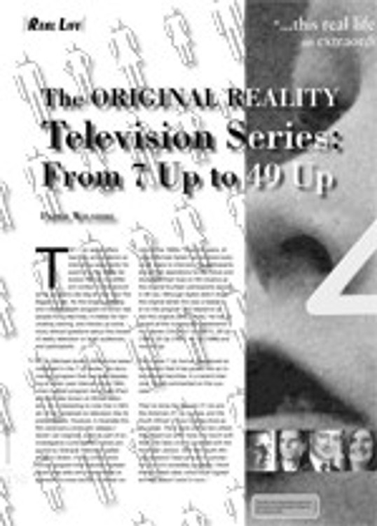 The Original Reality Television Series: From <i>7 Up</i> to <i>49 Up</i>