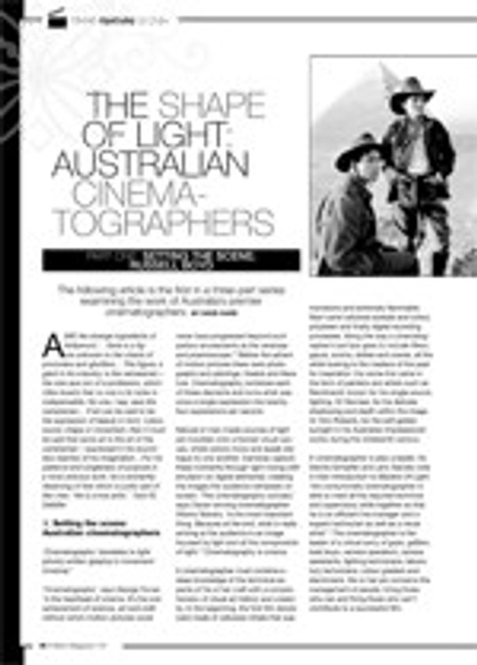 The Shape of Light ?Australian Cinematographers: Part One: Setting the Scene; Russel Boyd