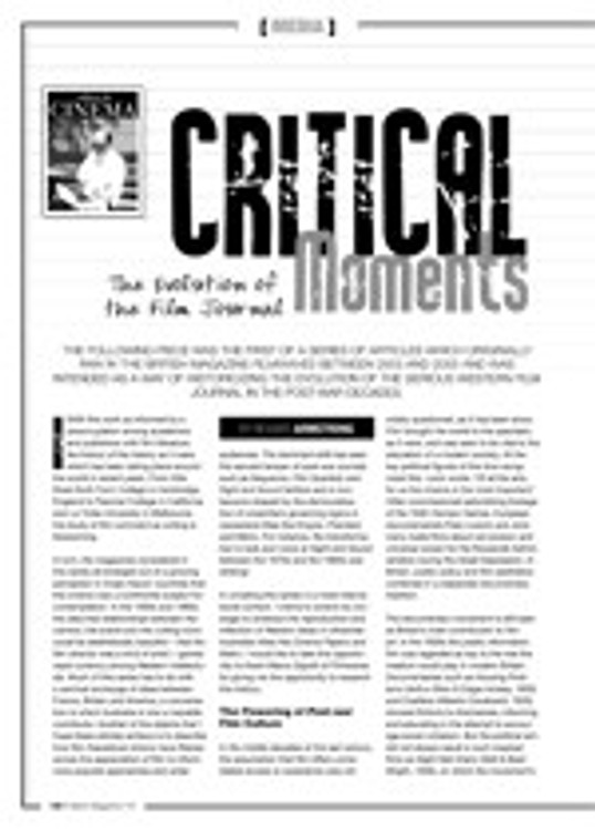 Critical Moments: The Evolution of the Film Journal