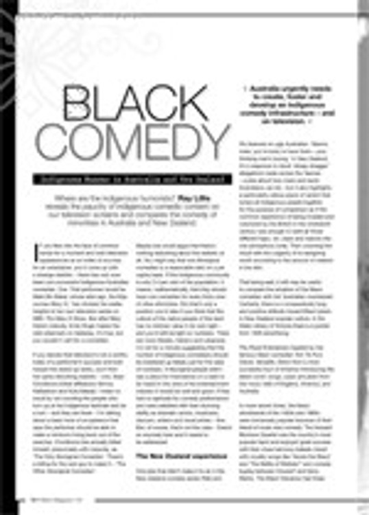 Black Comedy: Indigenous Humour in Australia and New Zealand