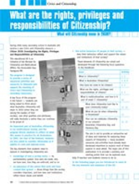 Citizen 2030?What are the rights, privileges and responsibilities of Citizenship?