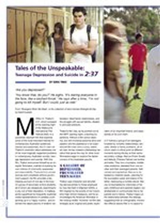Tales of the Unspeakable: Teenage Depression and Suicide in <i>2:37</i>