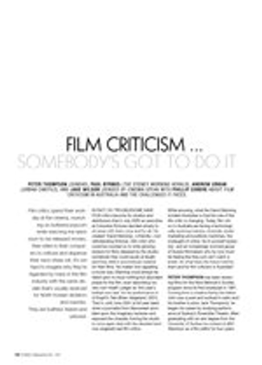 Film Criticism?omebody's Got to Do It